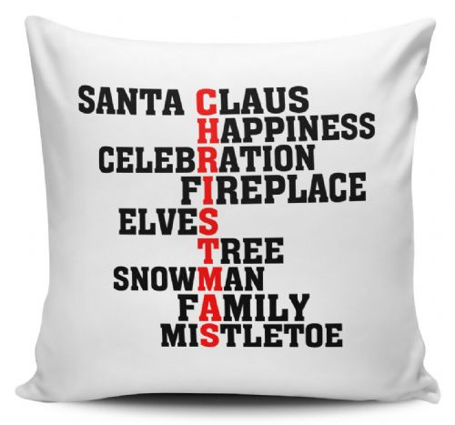 Assorted Christmas Words Xmas Novelty Cushion Cover